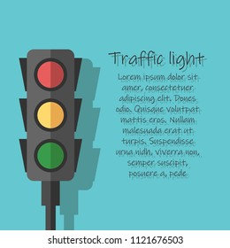 Icons depicting typical horizontal traffic signals with red light above green and yellow in.Led backlight.