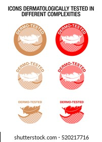 Icons of dermo-tested usable for looter, nappy, diaper, compress, napkin, serviette...