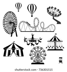 icons of different attractions in amusement park. Attraction icon for carnival and amusement park illustration