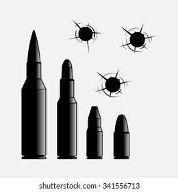 icons of different caliber bullets, hole in the wall, violence, gangsters, shooting, gunshot wounds, Damage