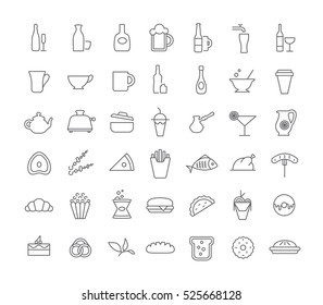 Icons with different drinks and food