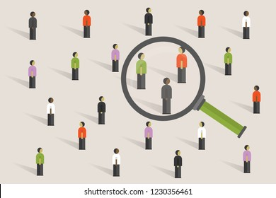 Icons of Different people stand,business teamwork or recruitment process,population research of society,magnifying glass,simple trendy style background,vector illustration flat design