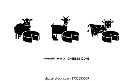 Icons of different types of cheese. Sheep, goat and cow cheese. Black flat icons.
