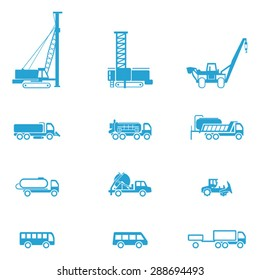 Icons for different types of special vehicles, part 5 / There are icons for special transport like bus, pipe layer, and pile-driving machine