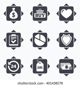 Icons with direction arrows. Online shopping, e-commerce and business icons. Checklist, like and pie chart signs. Money bag, discount and protection symbols. Square buttons.