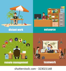 icons: distant work, remote management, outsource and teamwork. Vector illustration in a flat style.