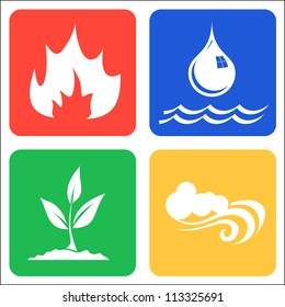 Icons for Earth, Air, Fire and Water vector llustration