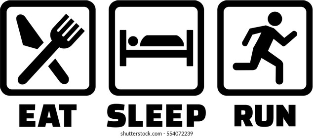 Icons for eat sleep run