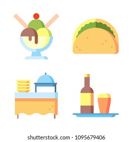 Icons Eat with taco, ice crem, tray and catering