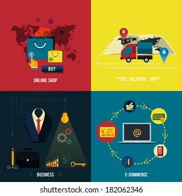 Icons for e-commerce, delivery, online shopping, business idea, business tools