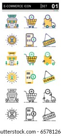 Icons for E-Commerce and Shopping, Flat vector design.