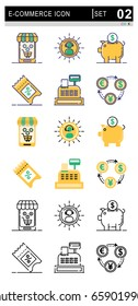 Icons for E-Commerce and Shopping, shop on mobile , Flat vector design.