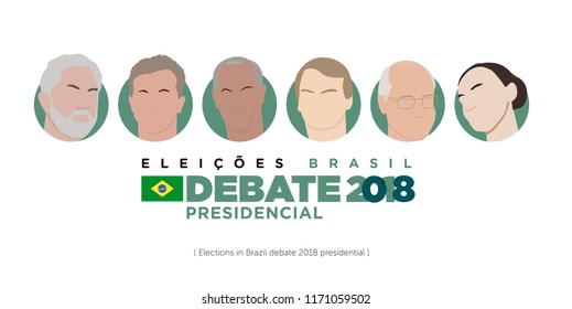 Icons election Brazil  2018. Presidential candidates of Brazil in debate 2018 - Elections 2018