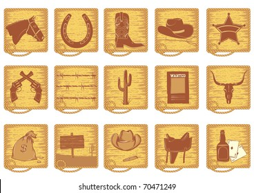 Icons elements for cowboy life.Vector brown silhouettes on white