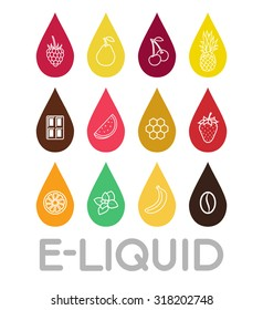 Icons of  E-Liquid. Vector E-Liquid illustration of different flavor. Vape trend.  The taste of the electronic cigarette