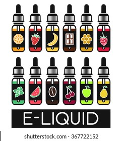 Icons of  E-Liquid. Vector E-Liquid illustration of different flavor.Liquid to vape. Tastes of  electronic cigarette