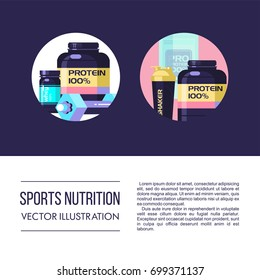Icons, emblems. Protein, sports nutrition, water, shaker, dumbbell, energy drinks. Vector set of design elements.