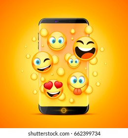 Icons for emoji from the phone on an orange background. Vector illustration