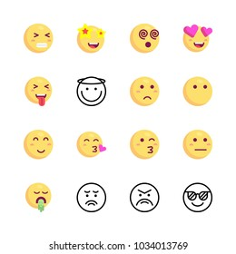 icons Emoji. vector tongue emoji, kiss emoji and sad emoji