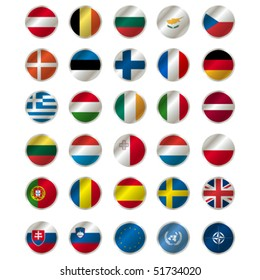 icons with european union flags, vector , illustration