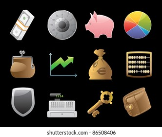 Icons for finance, money and security. Vector illustration.