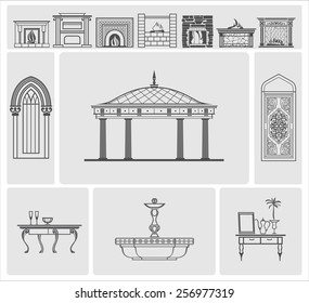 icons of fireplaces and decorative architectural elements, vector
