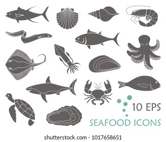 Icons of fish and seafood. Flat vector illustration
