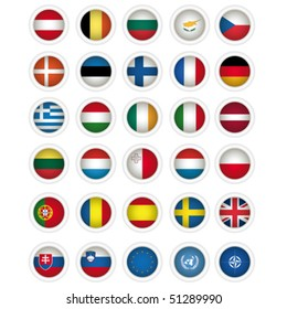 icons with flags of the European union, isolated on white