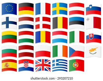 Icons of flags of the European Union. Vector illustration.