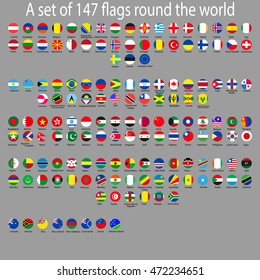 Icons of flags of the world in the form of a circle. vector illustration