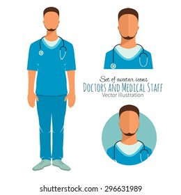 Icons in flat style. Doctors and medical staff.