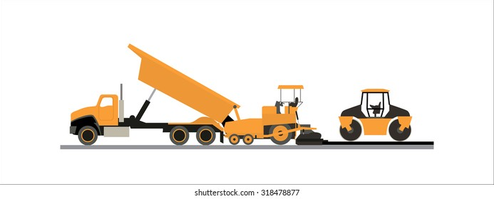 Icons in Flat style ( Road Construction Machines )