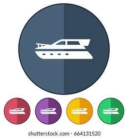 icons flat yatch boat for Web, Mobile and business
