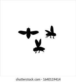 Icons flies. Silhouette. Flies in flight.