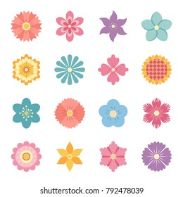 Icons of flowers. Flat style. Vector illustration.