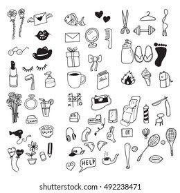 Icons food and fitness set cartoon drawing