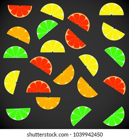 Icons in the form of backgrounds of juice from fresh citrus fruits, slices, sliced, grapefruit, orange, lemon, kiwi, mango, avocado, peach. Vector illustration. Background of a healthy lifestyle.
