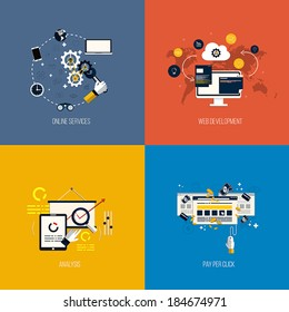 Icons foronline services, web development, analysis and pay per click. Flat style. Vector