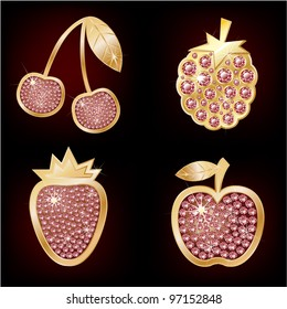 Icons of fruit decorated with diamonds.