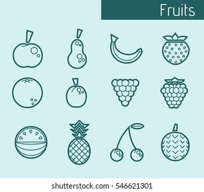 Icons of fruits - vector