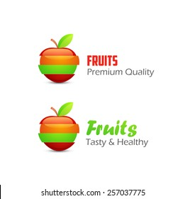 Icons of Fruits, Vector Concept Illustrations isolated on white background