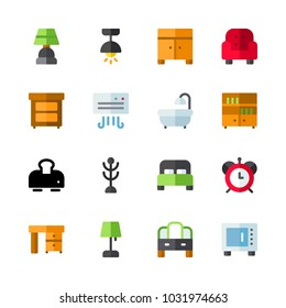 icons Furniture. vector bookcase, lamp and air conditioner
