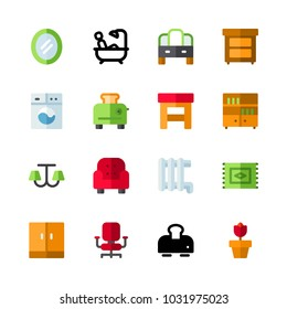 icons Furniture. vector chandelier, office chair and wardrobe