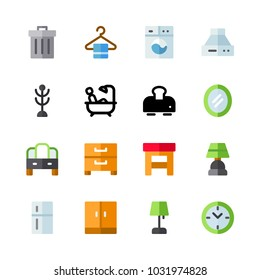 icons Furniture. vector coat stand, red clock and cabinet