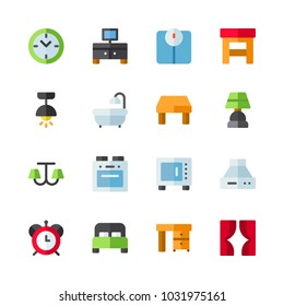 icons Furniture. vector desk, stool and red clock
