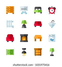 icons Furniture. vector fireplace, air conditioner and bed