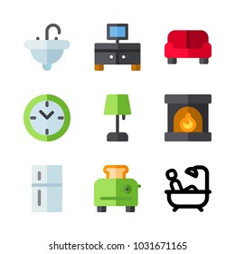 icons Furniture. vector lamp, sink and television