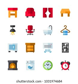 icons Furniture. vector microwave, red clock and fireplace