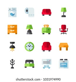 icons Furniture. vector red clock, bed and table