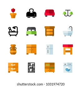 icons Furniture. vector refrigerator, red sofa and bed